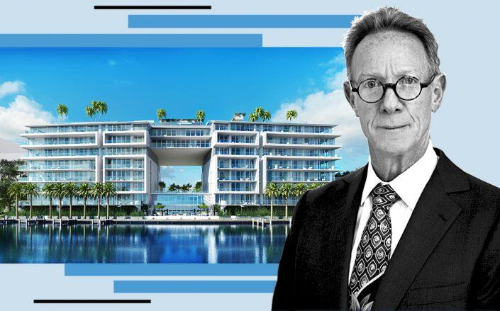 Bruce Eichner with a rendering of the Bay Harbor Islands project