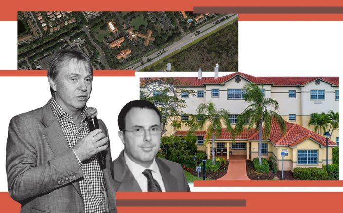Fortress execs Wesley Edens and Peter Briger with Sonata at 4175 West Sample Road (Getty, Sonata, Google Maps)