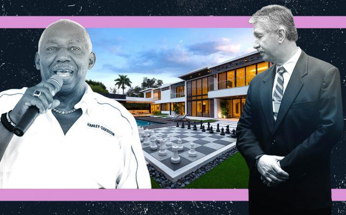 Thomas Moorehead and Mario Longhi with the Pinecrest home (Getty, David Hernandez/ Rews Miami for ONE Sotheby's)