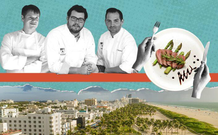 Major Food Group partners Rich Torrisi, Jeff Zalaznick and Mario Carbone over Miami/Miami Beach (Getty, iStock)