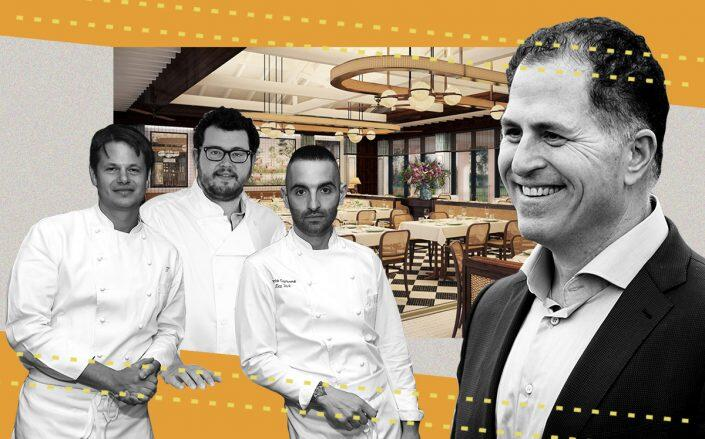 Michael Dell and Major Food Group heads (from left) Rich Torrisi, Jeff Zalanick and Mario Carbone with a rendering of The Flamingo Grill at Boca Raton Resort & Club (Getty)