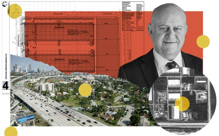 Prologis CEO Hamid Moghadam with project plans, an aerial view of Northwest 129th Avenue and 14th Street and the Dolphin Expressway in Miami-Dade County (Prologis, Getty, Google Maps)