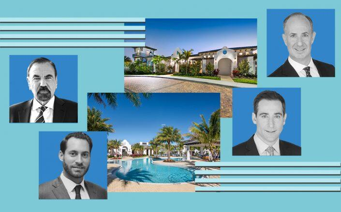 The complex at 10900 Town Circle with (from left) Group chair and CEO Jorge Pérez and President Jon Paul Pérez and Pantzer Properties co-CEOs Jason and Jordan Pantzer (The Point at Wellington, Related, Pantzer)