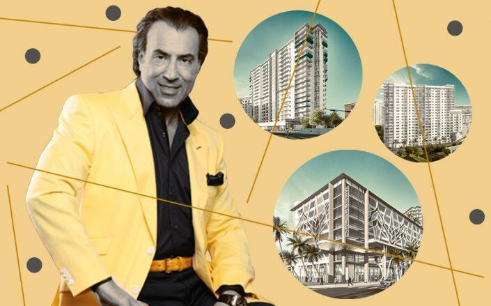 Shoma Group president Masoud Shojaee and renderings of the project (Shoma Group)