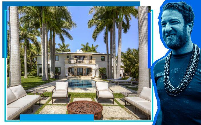 Dave Portnoy with the Morningside home (Getty, 5811 North Bayshore Drive/Dora Puig)