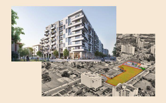 The site and renderings of Premium Development's nearby project. (Premium Development)