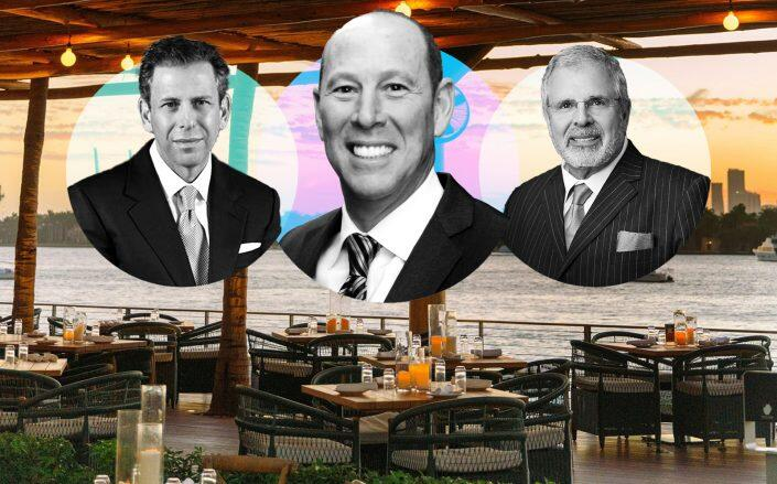 Baia Beach Club owners Michael Liebowitz, Perry Weitz and Russell Galbut. (Baia Beach Club via Facebook, Harbor Group Consulting, Weitz & Luxenberg)