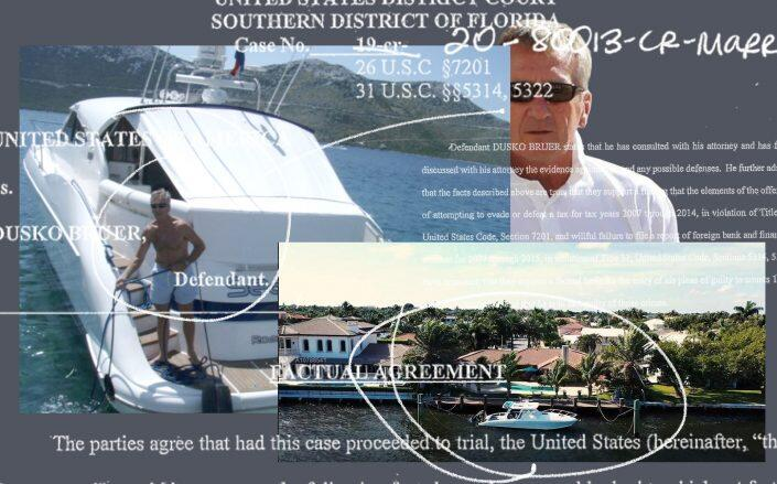 Dusko Bruer pictured with one of his yachts and his Lake Worth property. (Facebook via Bruer, Southern District of Florida | United States District Court)