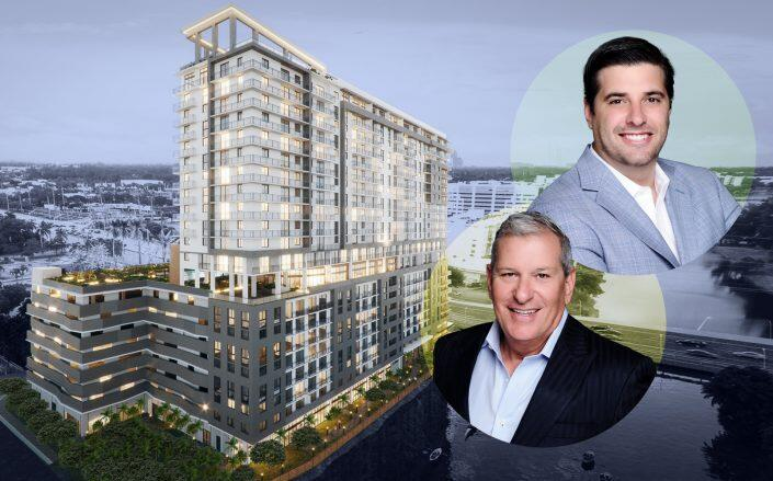 The Estate Companies Principal Jeff Ardizon and Managing Principal Robert Suris with a rendering of the project. (Estate)