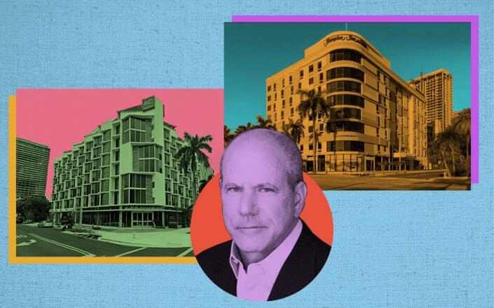 TPG CEO Jon Winkelried with AC Hotel Miami Midtown at 3400 Biscayne Boulevard and the next-door Hampton Inn & Suites at 3450 Biscayne Boulevard (Hilton, Google Maps)