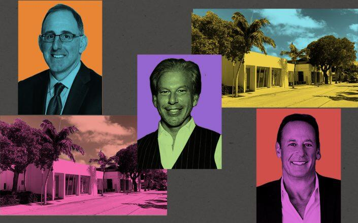 Apollo's Stuart A. Rothstein, Restoration Hardware CEO Gary Friedman and Comras Company's Michael Comras with the Miami Design District space (Getty)