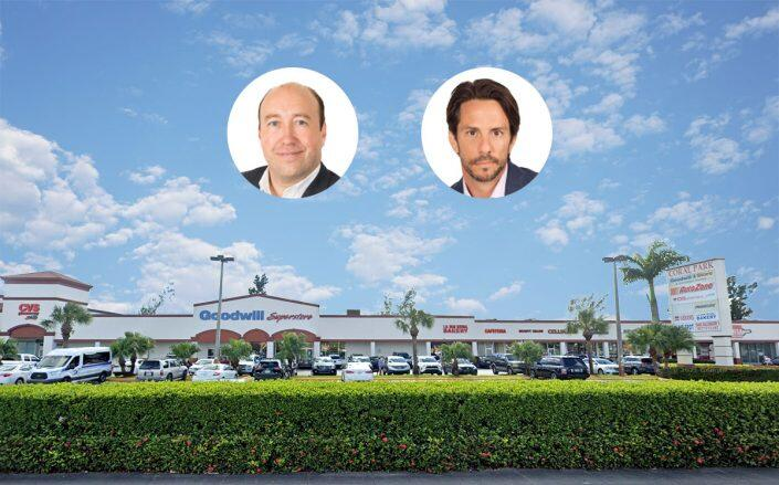 9720 Southwest Eighth Street in Miami and Core managing principals Adam Greenberg and Michael Lapointe (inset) (Google Maps, Core IPF)