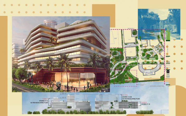 The development team of Sabal Palm Village aims to replace low-rise Design Place with a high-rise community with public spaces and bike paths. (Images provided by SPV Realty LC)