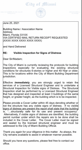 City of Miami draft letter to associations
