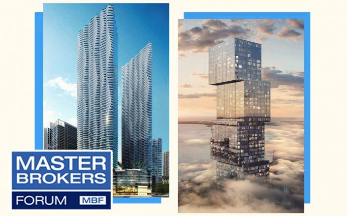 Renderings of 444 Brickell Avenue and Waldorf Astoria Residences Miami (Photos via Related, ArX Solutions)