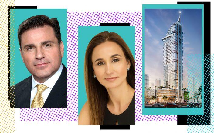 Royal Palm Companies's Dan Kodsi, OneWorld Properties's Peggy Olin and a rendering of Legacy Hotel & Residences