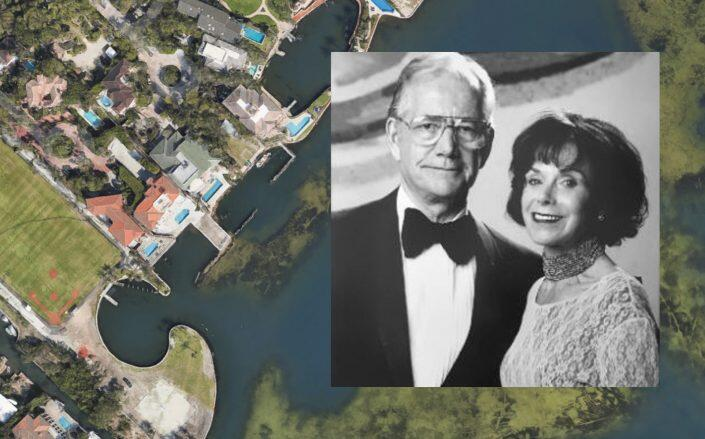 Charlene and the late Ron Esserman with an aerial of the Coconut Grove home (Google Maps, the Miami Foundation)