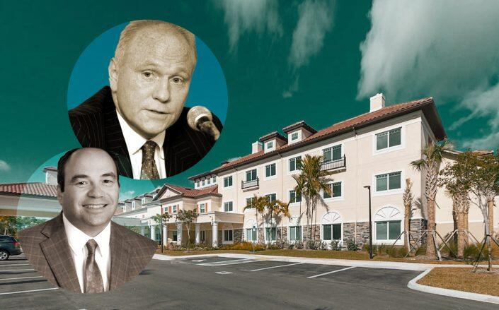 Lone Star Funds founder and chair John Grayken, Discovery Senior Living exec Richard Hutchinson and the Palm Beach Gardens location of Discovery Senior Living. (Discovery, Getty)
