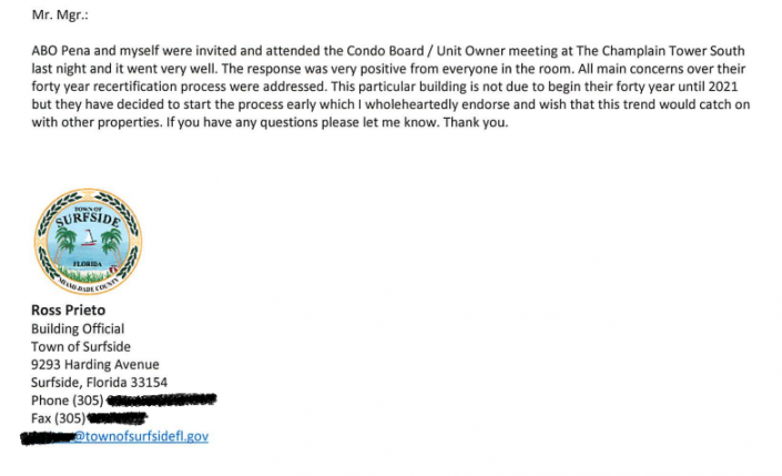 """Former Surfside building official Rosendo """"Ross"""" Prieto's email to a former town manager following Prieto's meeting with Champlain Towers South residents on November 15, 2018."""