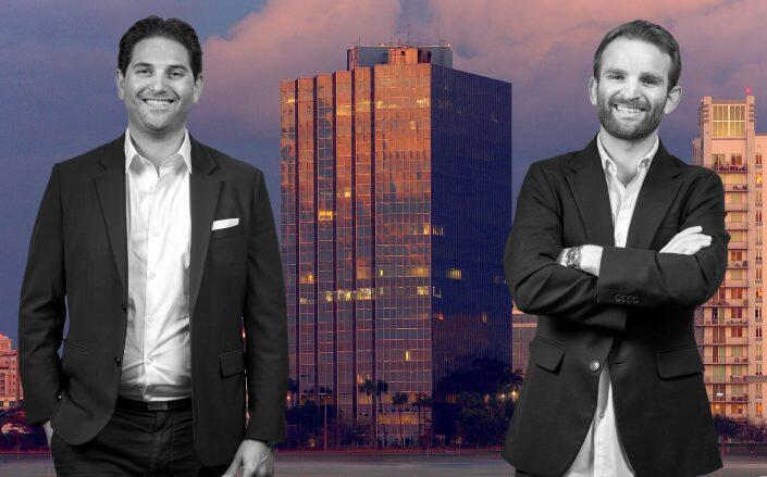 Tricera co-founders and managing principals Scott Sherman and Ben Mandell with One Clearlake office tower (Tricera Capital)
