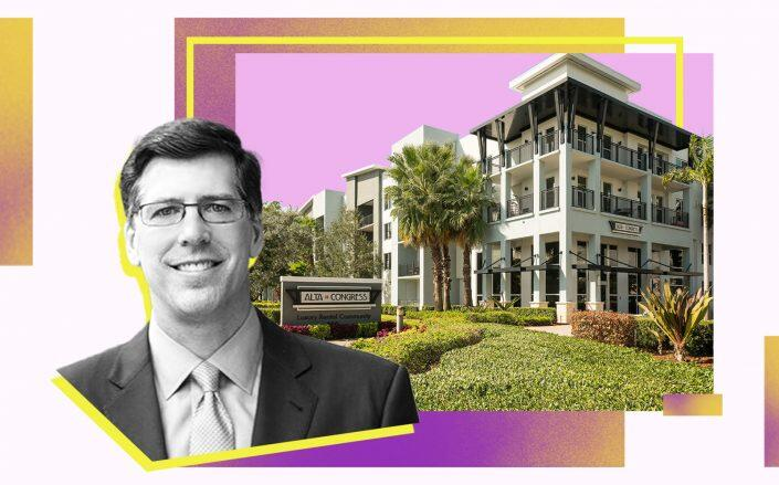 Alta Congress apartments at 250 Congress Park Road in Delray Beach and Crow Holdings CEO Michael Levy (Alta Congress, Crown Holdings)