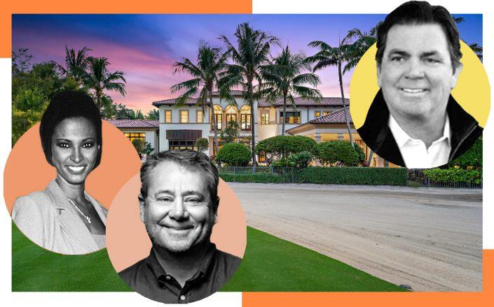 From left: Karin Katherine Taylor, William Weisberg and John Hague with 11759 Elina Court, Palm Beach Gardens (Photos via Getty, Affiliated Distributors, Hague Capital Partners, Leibowitz Realty Group)