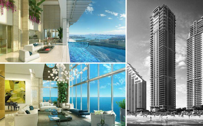 The Penthouse at Mansions at Acqualina has two grand salons and a covered terrace with a pool (Compass)