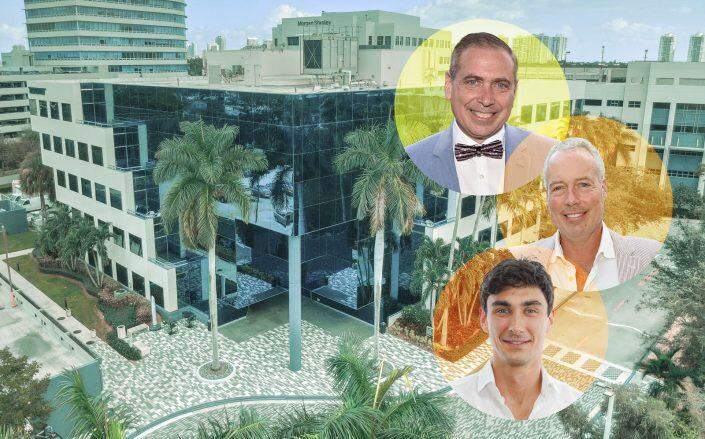 Clockwise from top: Kenneth, Robert and Bradley Fishel with Aventura Corporate Center (Getty)
