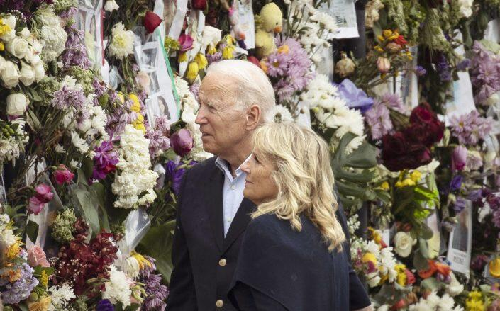 U.S. President Joe Biden and first lady Jill Biden in Surfside at a memorial for people lost since the partial collapse of the Champlain Towers South condo building (Getty)