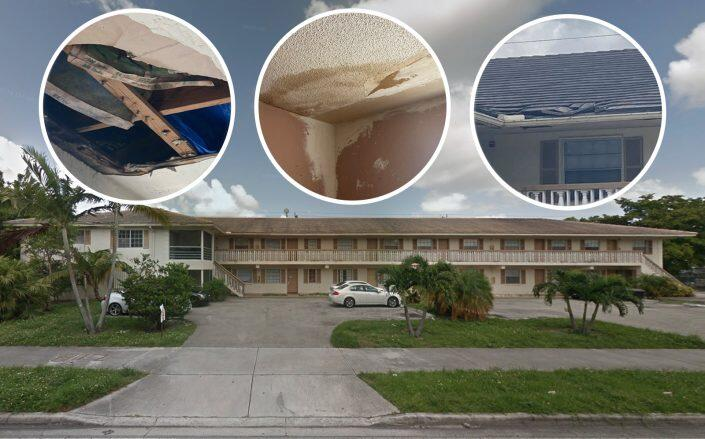 The condo exterior and close up images of damage (Google Maps, City of Coral Springs)