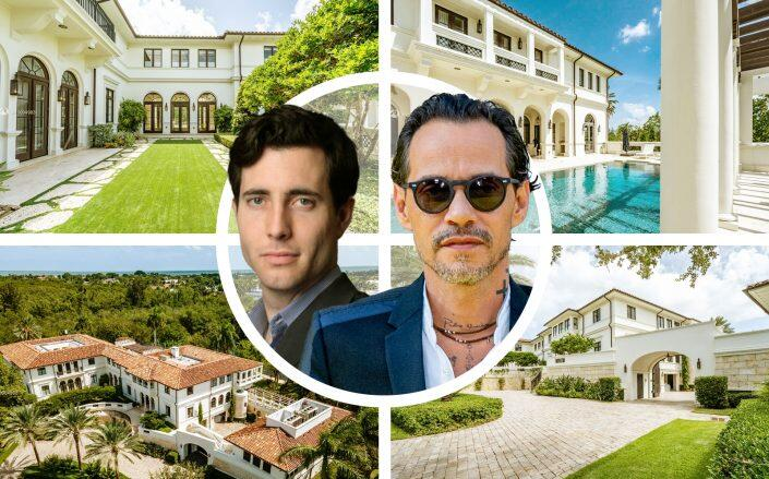 Tiger Global partner John Curtius with Marc Anthony and the Coral Gables estate. (Getty, Nexxos Realty via Compass, Signal)