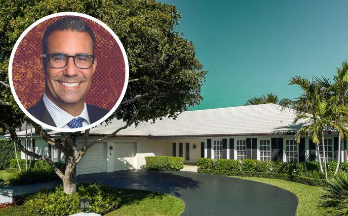 Alec Scheiner, former Cleveland Browns president, with 249 Sandpiper Drive in Palm Beach  (RedBird Capital, Sotheby's International Realty)