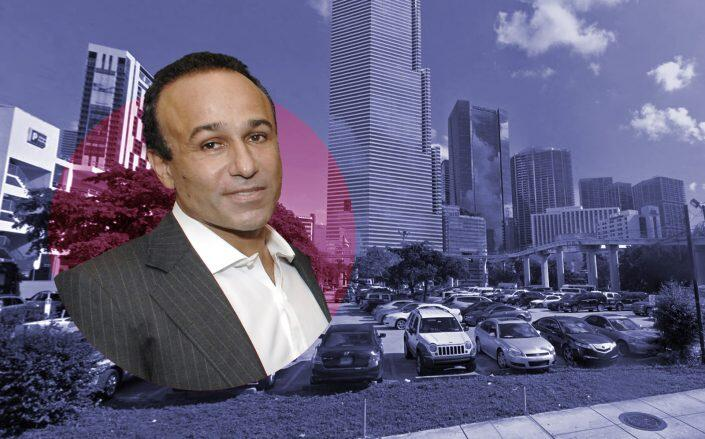 Moishe Mana and the downtown parking lot he purchased (Google Maps, Getty)