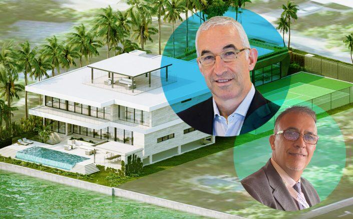 DataDirect Networks President Paul Bloch, Oceanfirst Realty principal Eddy Chabli and renderings of the house Bloch plans to build (DDN, Kobi Karp Architecture)