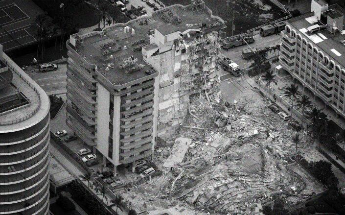 The partially collapsed 12-story Champlain Towers South condo building (Getty)