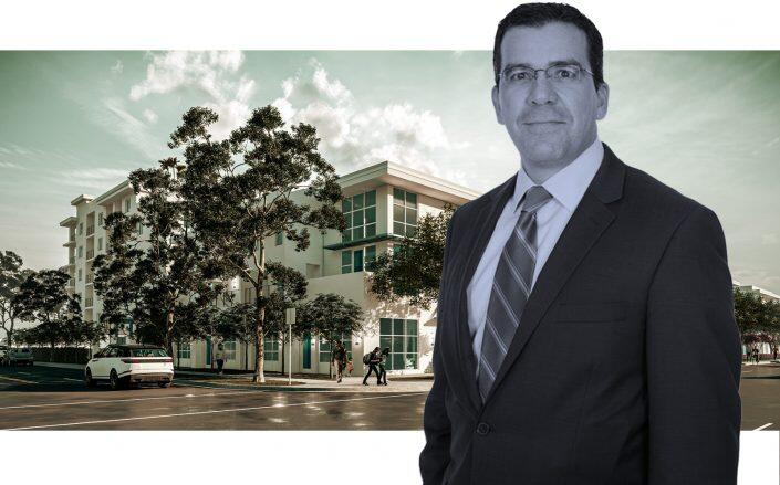 Office America Group Founder and CEO Ricardo Hernandez with a rendering of Deco Green (The Martin Architectural Group)