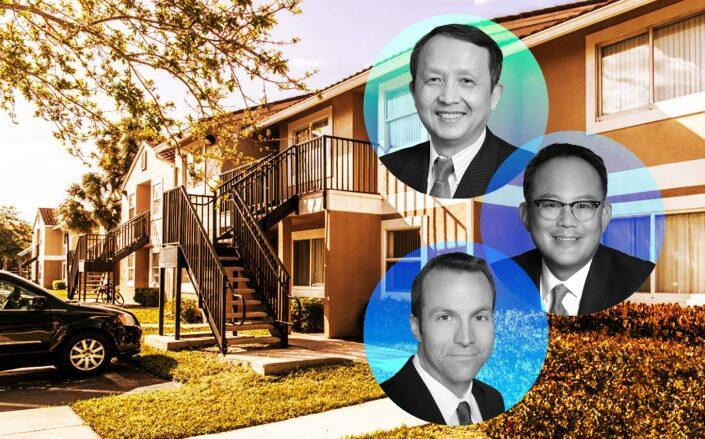 From top to bottom: Bascom Co-Founders and Principals Derek Chen, David Kim and Jerry Fink with the apartment complex (Bascom)