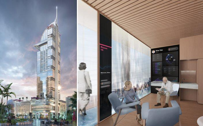 Rendering of the Legacy Hotel & Residences and exam room (Legacy Hotel & Residences)