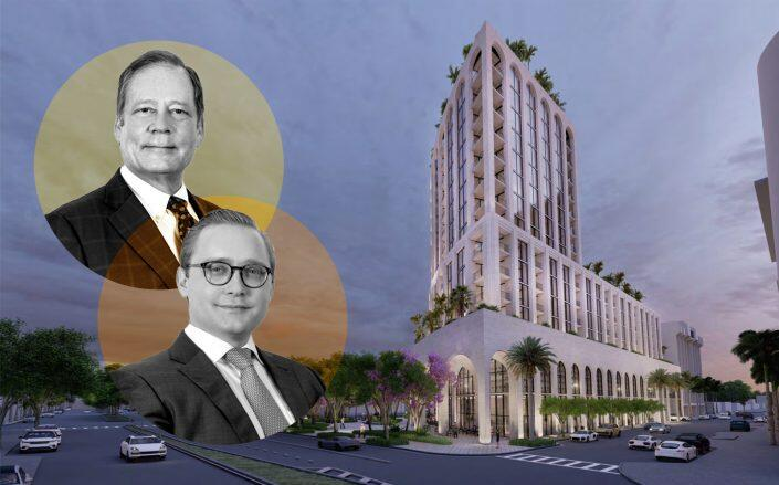 Allen Morris and Spencer Morris with renderings of Ponce Park Residences in Coral Gables (Oppenheim Architecture)
