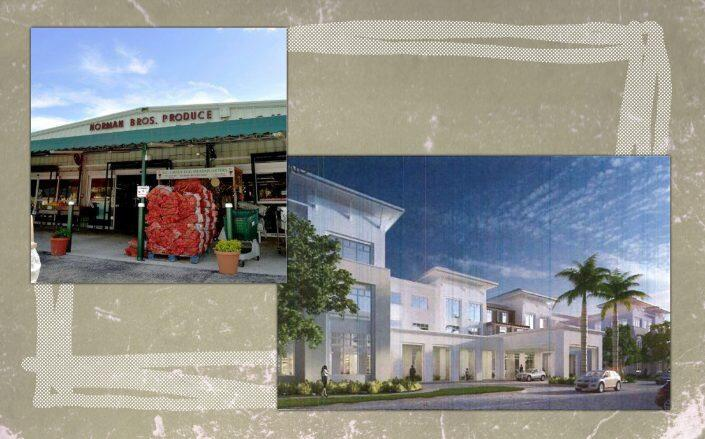 Norman Brothers Produce and a rendering of the proposed project  (Facebook via Norman Brothers, GC3 Development)