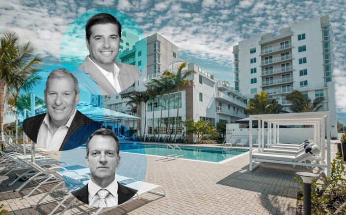 From top to bottom: Jeff Ardizon and Robert Suris of The Estate Companies and Joe Beard of Westdale (Westdale, Facebook via Soleste Blue Lagoon Luxury Apartments in Miami)