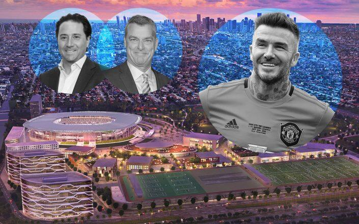 Ares Management co-founders Michael Aroughet and Antony Ressler with David Beckham and a rendering of the project (Getty, Freedom Park)