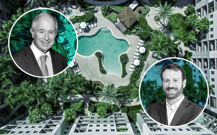 Blackstone chair, CEO and co-founder Stephen Schwarzman and RangeWater Real Estate CEO Steven Shores with the complex (Getty, LinkedIn via Shores, One Boynton)