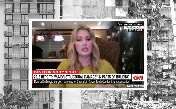 Champlain Towers South attorney Donna Berger speaking on CNN (CNN, Getty)