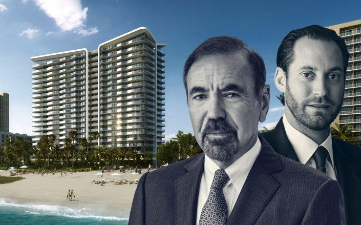 Jorge Pérez and Jon Paul Pérez of Related with a rendering of the Pompano Beach project (Related)