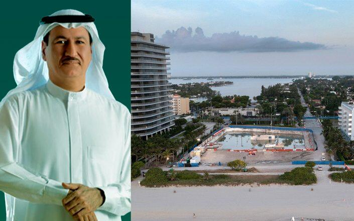 Damac Properties founder Hussain Sajwani and the Surfside collapse site (Damac, Getty)