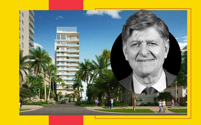 AIMCO founder Terry Considine and a rendering of the Grand Flamingo tower