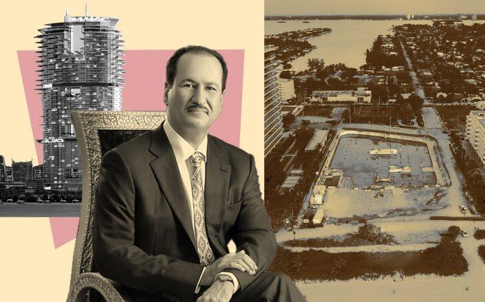 From left: Cavalli Tower with Hussain Sajwani of Damac and the Surfside condo collapse site (Damac, Wikimedia, Getty)