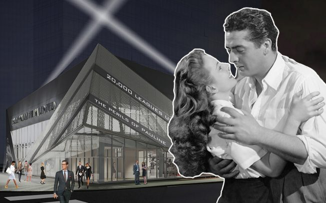 "A rendering of the Barrymore Film Center and a photo from 20th Century Fox's ""Kiss of Death"" (1947), which was filmed in Fort Lee (Credit: IMDB)"