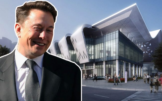 Elon Musk and a rendering of the Las Vegas Convention Center Loop (Credit: Getty Images and The Boring Company)